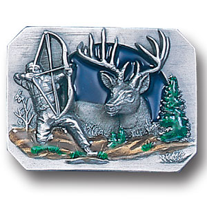 Belt Buckle - Bow hunter - This finely sculpted and hand enameled bow hunting belt buckle contains exceptional 3D detailing. Siskiyou's unique buckle designs often become collector's items and are unequaled with the best craftsmanship.