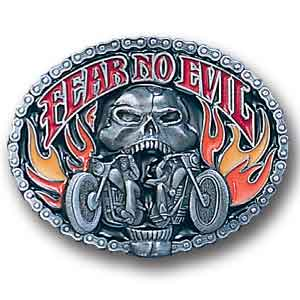 Belt Buckle -  Fear No Evil Skull/Motorcycle - This finely sculpted and hand enameled biker belt buckle contains exceptional 3D detailing. Siskiyou's unique buckle designs often become collector's items and are unequaled with the best craftsmanship.