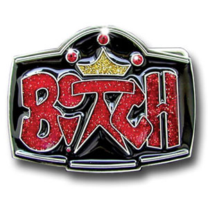 "Graffiti Expressions Buckle - Bitch with Crown - Are you a Bitch?  Wear it loudly and proudly with our Graffiti Expressions buckle, a Siskiyou Gifts exclusive.  Enameled in vibrant color with glitter and featuring rhinestones, buckle measures 3 1/4"" x 2 1/2""."