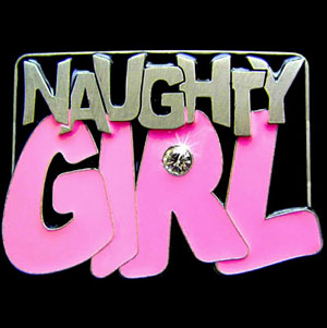 "Graffiti Expressions Buckle - Naughty Girl - Are you a Naughty Girl?  Wear it loudly and proudly with our Graffiti Expressions buckle, a Siskiyou Gifts exclusive.  Enameled in vibrant color and featuring a rhinestone, buckle measures 3 3/8"" x 2 3/8""."