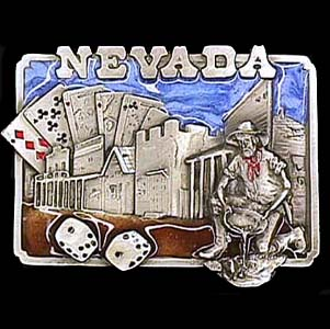 Belt Buckle - Nevada Miner - This finely sculpted and hand enameled Nevada belt buckle contains exceptional 3D detailing. Siskiyou's unique buckle designs often become collector's items and are unequaled with the best craftsmanship.