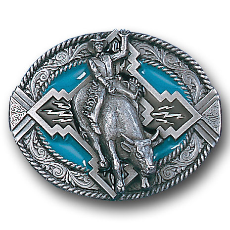 Belt Buckle - Bull Rider Rope Border - This finely sculpted and hand enameled rodeo belt buckle contains exceptional 3D detailing. Siskiyou's unique buckle designs often become collector's items and are unequaled with the best craftsmanship.