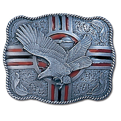 Belt Buckle - Soaring Eagle - This finely sculpted and hand enameled eagle belt buckle contains exceptional 3D detailing. Siskiyou's unique buckle designs often become collector's items and are unequaled with the best craftsmanship.
