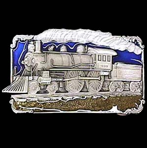Belt Buckle - Steam Engine Train  - This finely sculpted and hand enameled steam engine Train belt buckle contains exceptional 3D detailing. Siskiyou's unique buckle designs often become collector's items and are unequaled with the best craftsmanship.