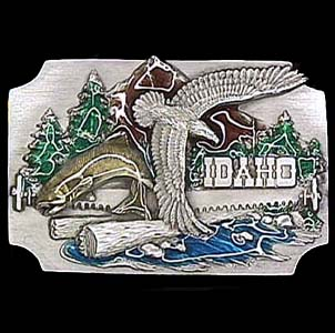 Belt Buckle - Idaho Eagle and Mountain - This finely sculpted and hand enameled Idaho belt buckle contains exceptional 3D detailing. Siskiyou's unique buckle designs often become collector's items and are unequaled with the best craftsmanship.