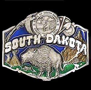 Belt Buckle - South Dakota  Bison - This finely sculpted and hand enameled S. Dakota belt buckle contains exceptional 3D detailing. Siskiyou's unique buckle designs often become collector's items and are unequaled with the best craftsmanship.