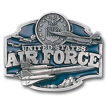 Belt Buckle - U.S. Air Force  - This finely sculpted and hand enameled Air Force belt buckle contains exceptional 3D detailing. Siskiyou's unique buckle designs often become collector's items and are unequaled with the best craftsmanship.