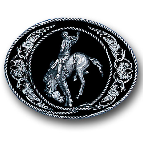 Belt Buckle - Bronco (Diamond Cut) - This finely sculpted rodeo belt buckle contains exceptional 3D detailing and diamond cut accents. Siskiyou's unique buckle designs often become collector's items and are unequaled with the best craftsmanship.