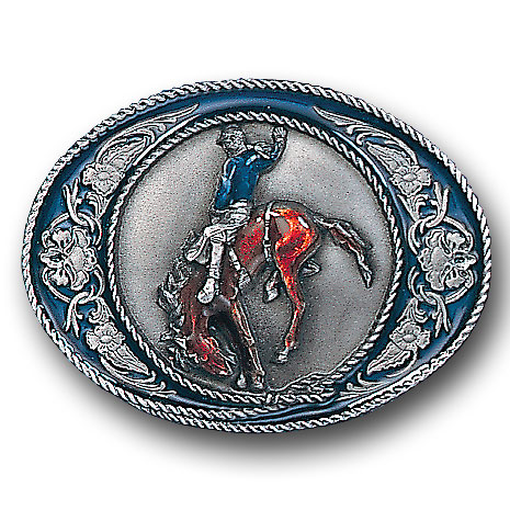 Belt Buckle - Bronco Rider with Scroll - This finely sculpted and hand enameled rodeo belt buckle contains exceptional 3D detailing. Siskiyou's unique buckle designs often become collector's items and are unequaled with the best craftsmanship.