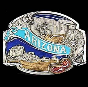 Belt Buckle - Arizona split image - This finely sculpted and hand enameled Arizona belt buckle contains exceptional 3D detailing. Siskiyou's unique buckle designs often become collector's items and are unequaled with the best craftsmanship.