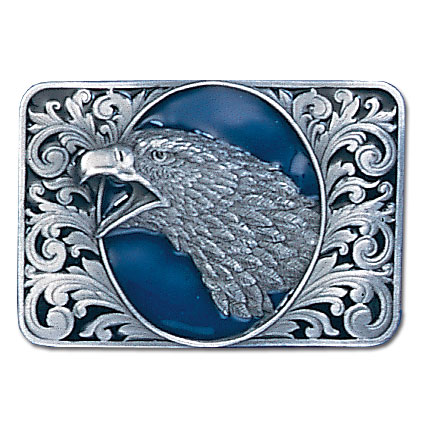 Belt Buckle - Eagle Head with Scroll  - This finely sculpted and hand enameled eagle belt buckle contains exceptional 3D detailing. Siskiyou's unique buckle designs often become collector's items and are unequaled with the best craftsmanship.