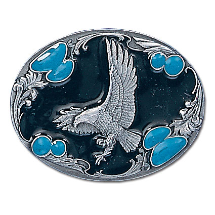 Belt Buckle - Landing Eagle Silhouette - This finely sculpted and hand enameled eagle belt buckle contains exceptional 3D detailing. Siskiyou's unique buckle designs often become collector's items and are unequaled with the best craftsmanship.