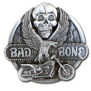"Belt Buckle - Bad to the Bone - Finely sculpted and intricately designed ""Bad to the Bone"" belt buckle. Our unique designs often become collector's items. Check out our entire line of  belt buckles."