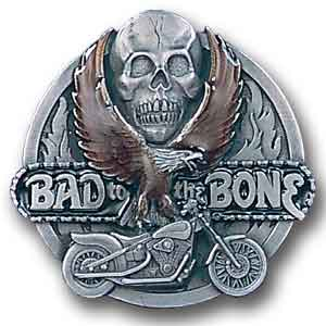 "Belt Buckle - Bad to the Bone - This finely sculpted and hand enameled ""Bad to the Bone"" belt buckle contains exceptional 3D detailing. Siskiyou's unique buckle designs often become collector's items and are unequaled with the best craftsmanship."