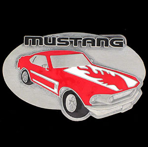 Ford  Belt Buckle - Ford Mustang Buckle - This finely sculpted and hand enameled Ford Mustand belt buckle contains exceptional 3D detailing. Siskiyou's unique buckle designs often become collector's items and are unequaled with the best craftsmanship.