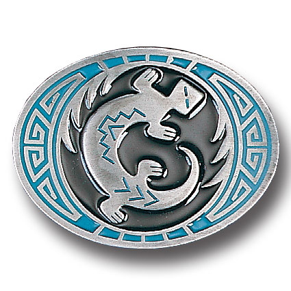 Belt Buckle - Southwest Lizard  - This finely sculpted and hand enameled Southwest belt buckle contains exceptional 3D detailing. Siskiyou's unique buckle designs often become collector's items and are unequaled with the best craftsmanship.