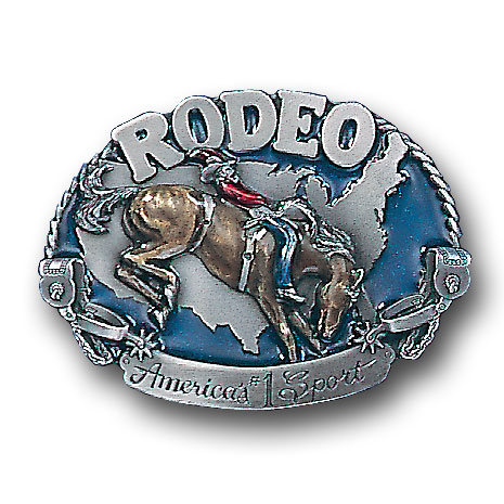 Belt Buckle - Rodeo Horse Rider - This finely sculpted and hand enameled rodeo belt buckle contains exceptional 3D detailing. Siskiyou's unique buckle designs often become collector's items and are unequaled with the best craftsmanship.
