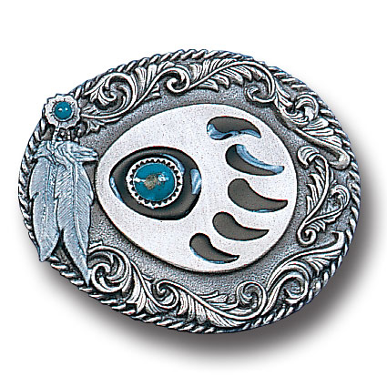Belt Buckle - Western Claw with Stone - This finely sculpted and hand enameled belt buckle contains exceptional 3D detailing. Siskiyou's unique buckle designs often become collector's items and are unequaled with the best craftsmanship.