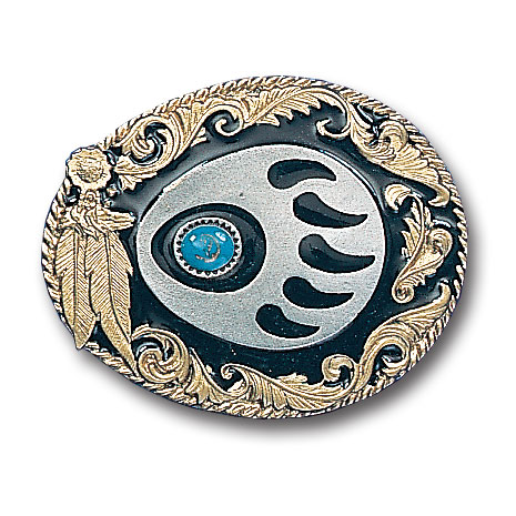 Belt Buckle - Western Claw with Stone  - This finely sculpted belt buckle contains exceptional 3D detailing and is finished with gold vivatone. Siskiyou's unique buckle designs often become collector's items and are unequaled with the best craftsmanship.