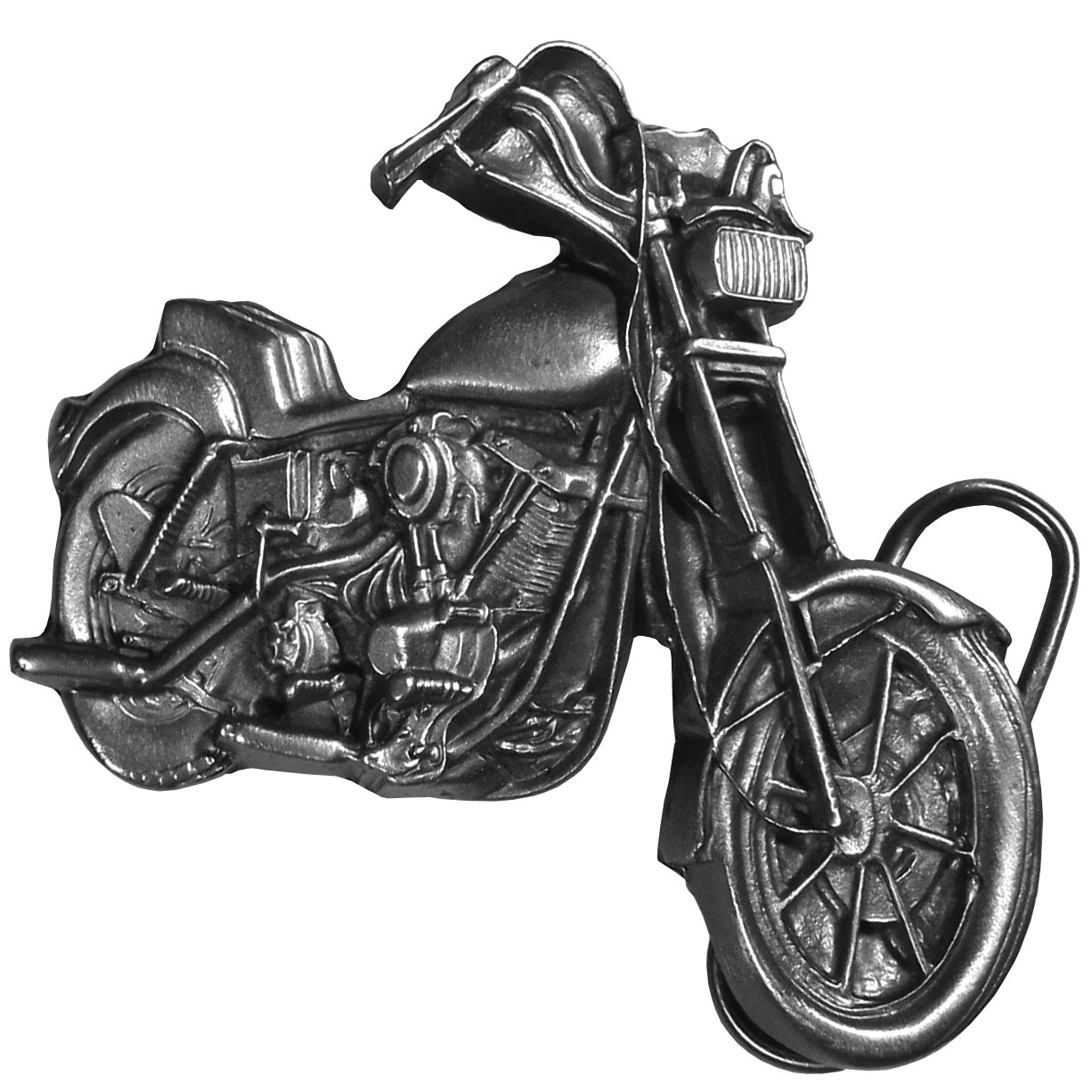 "Motorcycle Antiqued Belt Buckle - ""This belt buckle is in shape of a motorcycle and is intricately carved and made of fully cast metal with a standard bale that fits up to 2"""" belts."""
