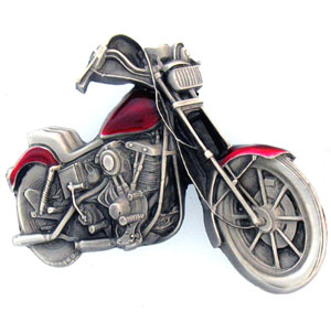 Belt Buckle - Motorcycle  - This finely sculpted and hand enameled motorcyle belt buckle contains exceptional 3D detailing. Siskiyou's unique buckle designs often become collector's items and are unequaled with the best craftsmanship.