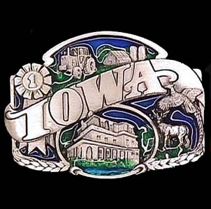Belt Buckle - Iowa split image - This finely sculpted and hand enameled Iowa belt buckle contains exceptional 3D detailing. Siskiyou's unique buckle designs often become collector's items and are unequaled with the best craftsmanship.
