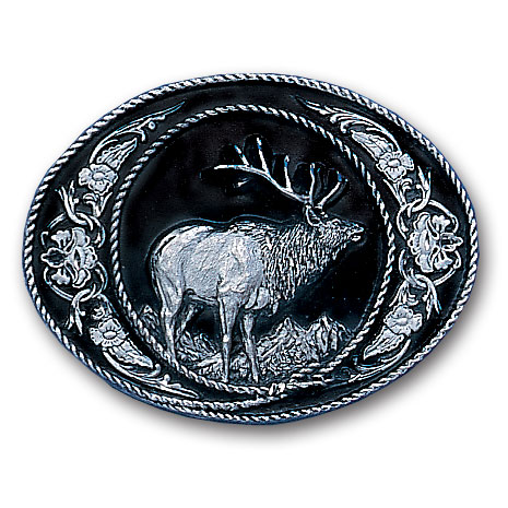 Belt Buckle - Elk  (Diamond Cut) - This finely sculpted elk belt buckle contains exceptional 3D detailing and diamond cut accents. Siskiyou's unique buckle designs often become collector's items and are unequaled with the best craftsmanship.