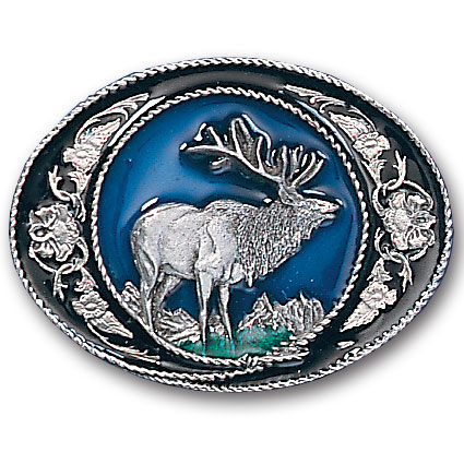 Belt Buckle - Elk with Scroll - This finely sculpted and hand enameled elk belt buckle contains exceptional 3D detailing. Siskiyou's unique buckle designs often become collector's items and are unequaled with the best craftsmanship.