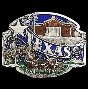 Belt Buckle - Texas split image - This finely sculpted and hand enameled Texas belt buckle contains exceptional 3D detailing. Siskiyou's unique buckle designs often become collector's items and are unequaled with the best craftsmanship.