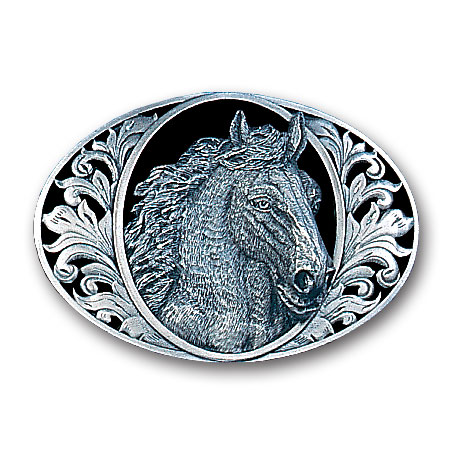 Belt Buckle - Horse Head (Diamond Cut) - This finely sculpted horse belt buckle contains exceptional 3D detailing and diamond cut accents. Siskiyou's unique buckle designs often become collector's items and are unequaled with the best craftsmanship.