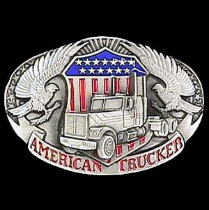 Belt Buckle - American Trucker - This finely sculpted and hand enameled trucker belt buckle contains exceptional 3D detailing. Siskiyou's unique buckle designs often become collector's items and are unequaled with the best craftsmanship.