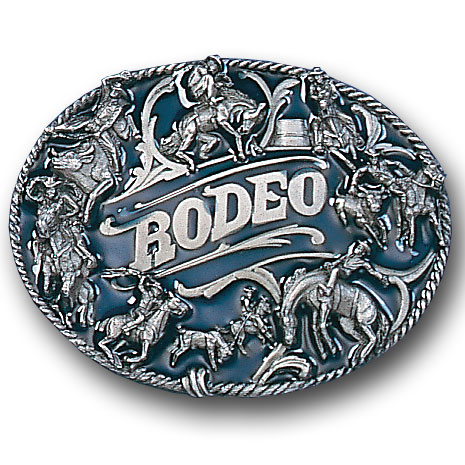Belt Buckle - Rodeo Rope Border - This finely sculpted and hand enameled rodeo belt buckle contains exceptional 3D detailing. Siskiyou's unique buckle designs often become collector's items and are unequaled with the best craftsmanship.