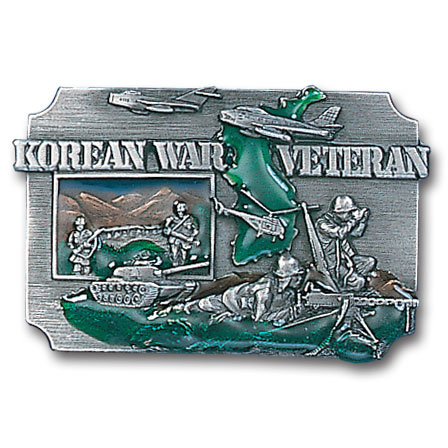 Belt Buckle -Korean War Veteran - This finely sculpted and hand enameled veteran belt buckle contains exceptional 3D detailing. Siskiyou's unique buckle designs often become collector's items and are unequaled with the best craftsmanship.