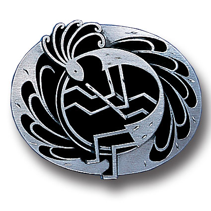 Belt Buckle - Kokopelli  (Diamond Cut) - This finely sculpted belt buckle contains exceptional 3D detailing and diamond cut accents. Siskiyou's unique buckle designs often become collector's items and are unequaled with the best craftsmanship.