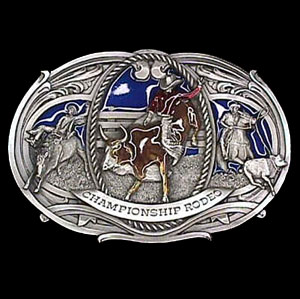 Belt Buckle - Rodeo (Oversized Buckle) - This finely sculpted and hand enameled oversized rodeo belt buckle contains exceptional 3D detailing. Siskiyou's unique buckle designs often become collector's items and are unequaled with the best craftsmanship.