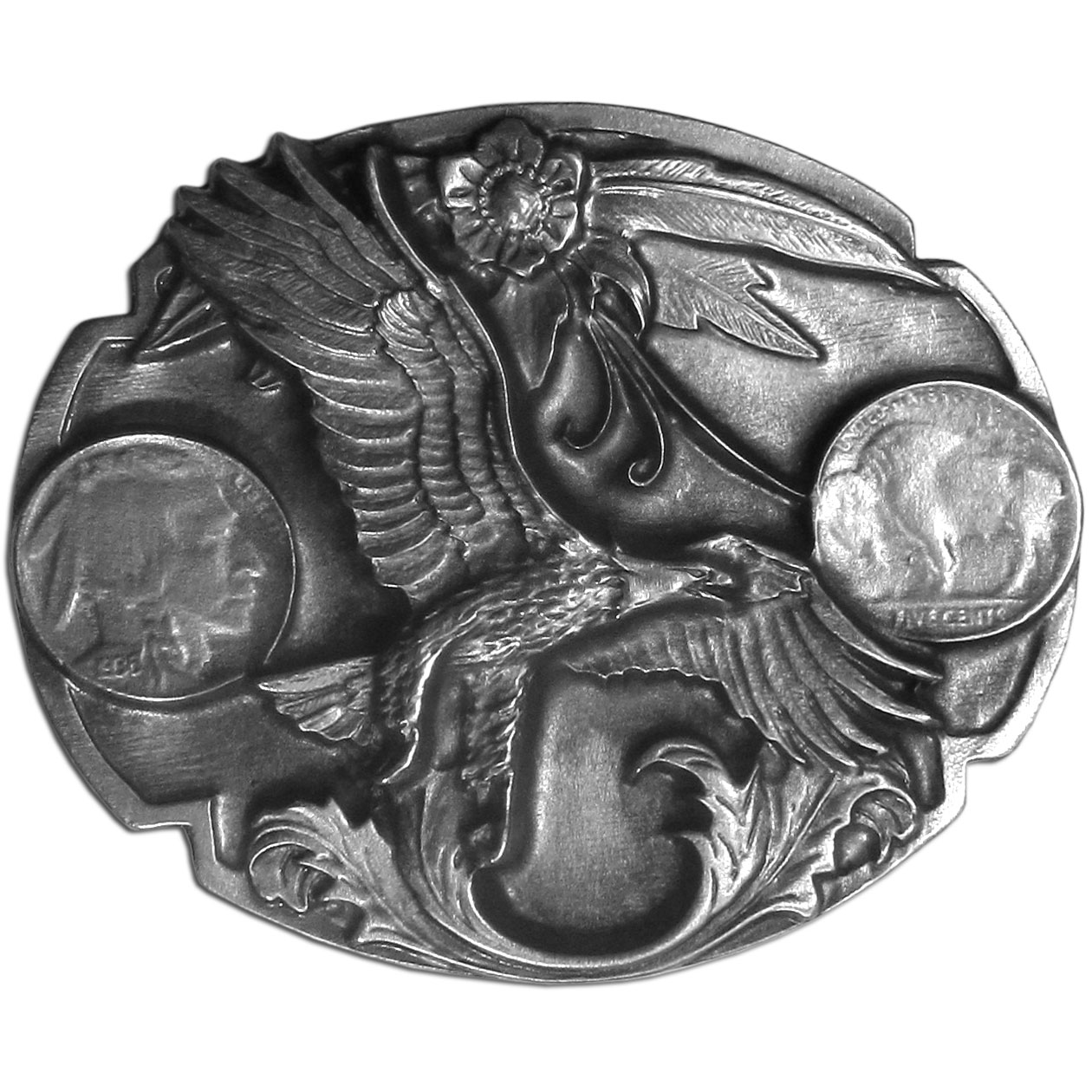 "Indian Nickel with Eagle Antiqued Belt Buckle - ""This belt buckle features an Indian Nickel, the front on one side and the back on the other.  In the center is an eagle soaring through the sky, there is also flowers and other design detail.  This exquisitely carved buckle is made of fully cast metal with a standard bale that fits up to 2"""" belts."""