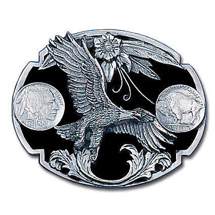 Belt Buckle - Eagle (Diamond Cut) - This finely sculpted eagle belt buckle contains exceptional 3D detailing and diamond cut accents. Siskiyou's unique buckle designs often become collector's items and are unequaled with the best craftsmanship.
