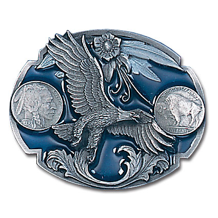 Belt Buckle - Eagle/Indian Nickels - This finely sculpted and hand enameled eagle belt buckle contains exceptional 3D detailing. Siskiyou's unique buckle designs often become collector's items and are unequaled with the best craftsmanship.