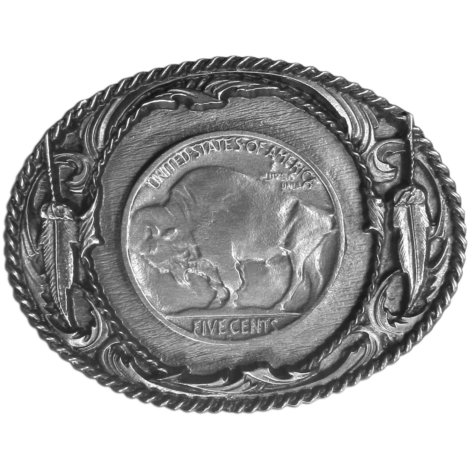 "Indian Nickel with Buffalo Antiqued Belt Buckle - ""This belt buckle features a Buffalo Nickel with rope, feathers and Western designs surrounding it.  This exquisitely carved buckle is made of fully cast metal with a standard bale that fits up to 2"""" belts."""
