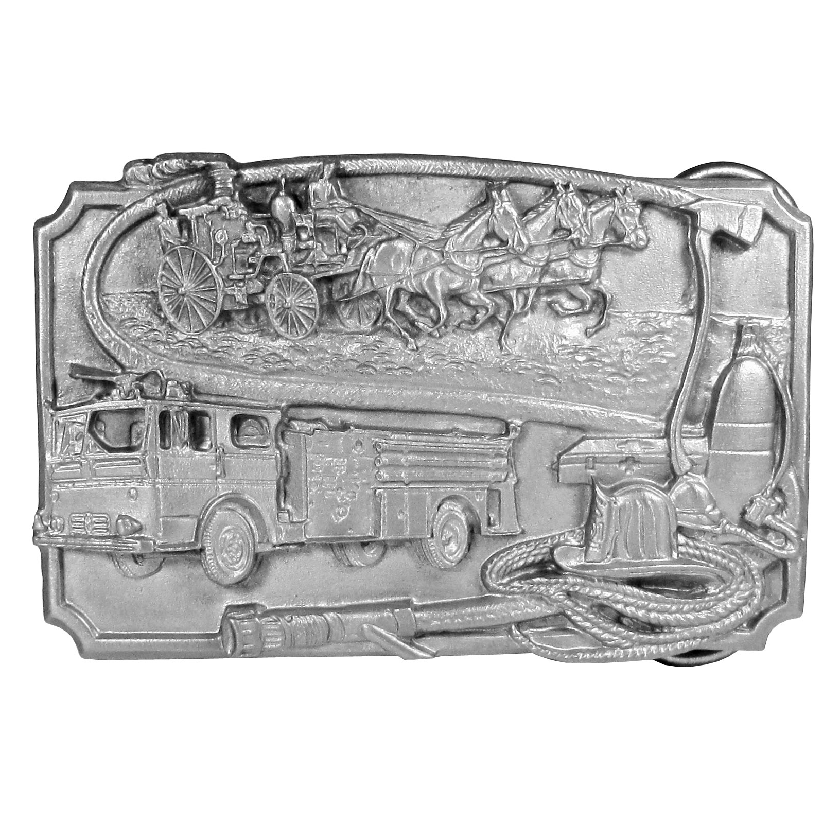 "Firefighter Antiqued Belt Buckle - ""This belt buckle celebrates firefighters.  There is an old-fashioned, horse drawn fire wagon on the top with a new fire truck below it.  There is also a medical kit, an oxygen tank, an axe, a firefighter hat and a fire hose.  On the back are the words, """"Firefighters have always performed a valuable service in their communities.  Today their job is even more dangerous and demanding.  This buckle is dedicated to firefighters everywhere, past and present."""""""