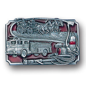 Belt Buckle - Fire Fighting - This finely sculpted and hand enameled firefighter belt buckle contains exceptional 3D detailing. Siskiyou's unique buckle designs often become collector's items and are unequaled with the best craftsmanship.