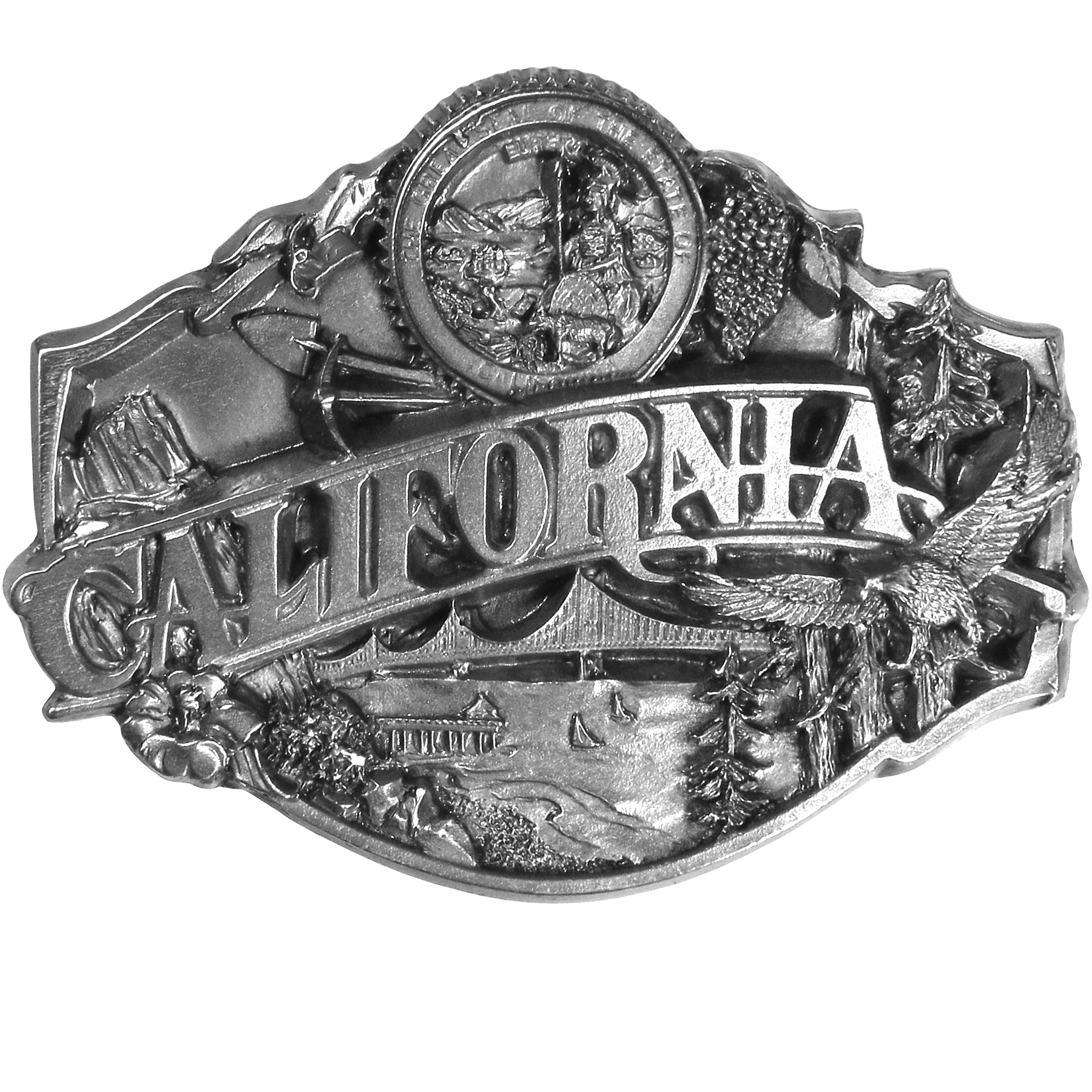 "California Antiqued Belt Buckle - ""This belt buckle celebrates California!  """"California"""" is written in bold across the center with images of the Golden Gate Bridge, sailboats, the Santa Monica Pier, Redwoods, a California Poppy, a quail, mountains, mining equipment, the state seal and grapevines surrounding it.  On the back are the words, """"California became the 31st state on Sept 9th, 1850.  The state bird is the California Valley Quail.  The state flower is the Golden Poppy.  The state tree is the California Redwood."""""""