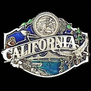 Belt Buckle - California split image - This finely sculpted and hand enameled California belt buckle contains exceptional 3D detailing. Siskiyou's unique buckle designs often become collector's items and are unequaled with the best craftsmanship.