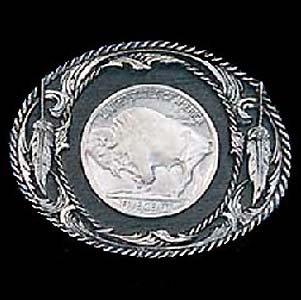 Belt Buckle - Buffalo Nickel - This finely sculpted Buffalo Nickel belt buckle contains exceptional 3D detailing and diamond cut accents. Siskiyou's unique buckle designs often become collector's items and are unequaled with the best craftsmanship.