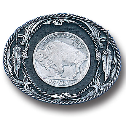 Belt Buckle - Buffalo Nickel  - This finely sculpted and hand enameled Buffalo Nickel belt buckle contains exceptional 3D detailing. Siskiyou's unique buckle designs often become collector's items and are unequaled with the best craftsmanship.