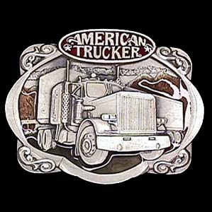 Belt Buckle - American Trucker - This finely sculpted and hand enameled  American Trucker belt buckle contains exceptional 3D detailing. Siskiyou's unique buckle designs often become collector's items and are unequaled with the best craftsmanship.