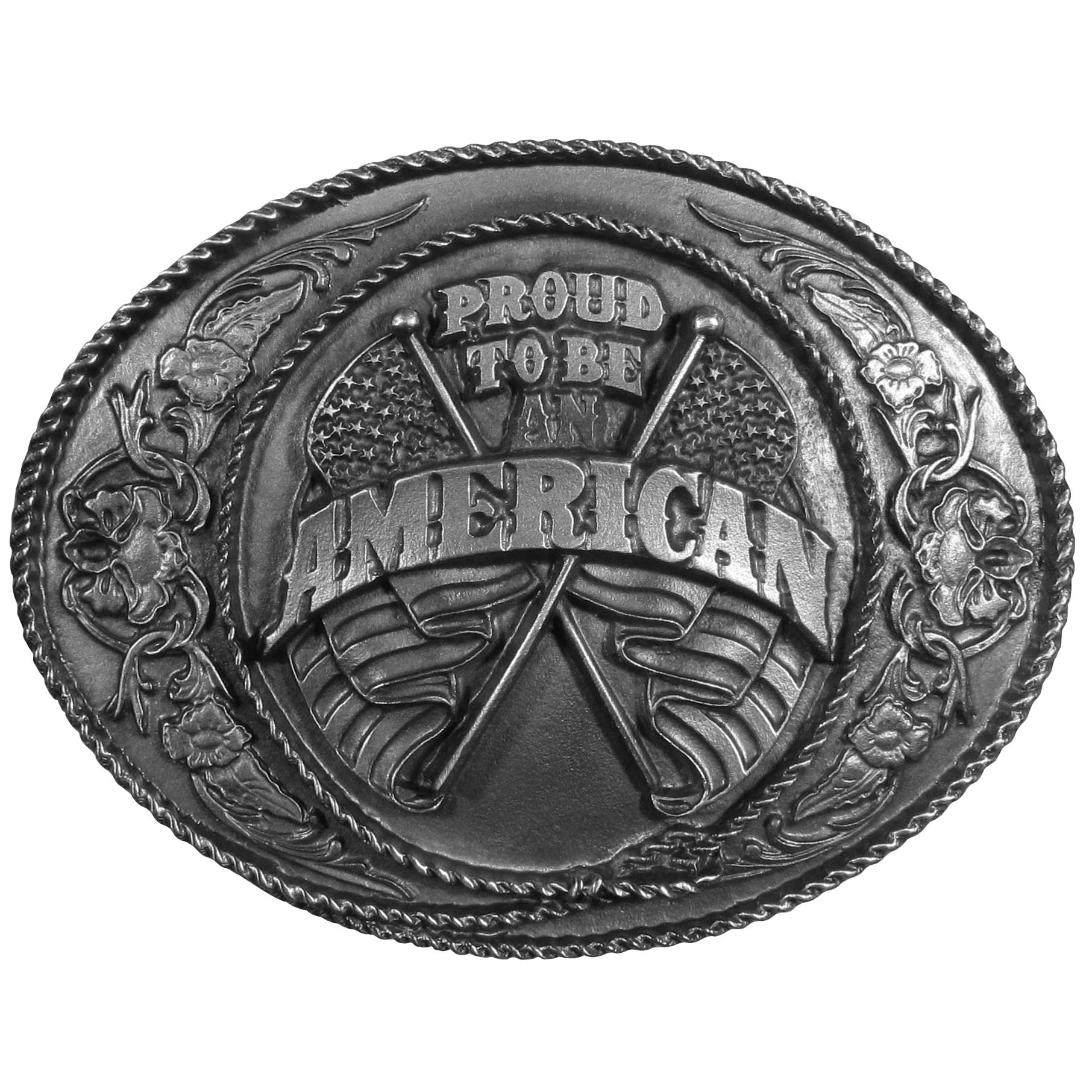 "Proud to be an American Antiqued Belt Buckle - ""Are you proud to be an American?  This belt buckle is for you!  """"Proud to be an American"""" is boldly written across the front with two American flags behind it and surrounded by rope, flowers and Western design.  This exquisitely carved buckle is made of fully cast metal with a standard bale that fits up to 2"""" belts."""