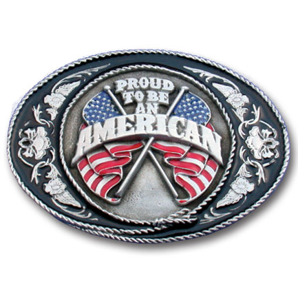 Belt Buckle - Proud To Be An American  - This finely sculpted and hand enameled  Proud To Be An American  belt buckle contains exceptional 3D detailing. Siskiyou's unique buckle designs often become collector's items and are unequaled with the best craftsmanship.
