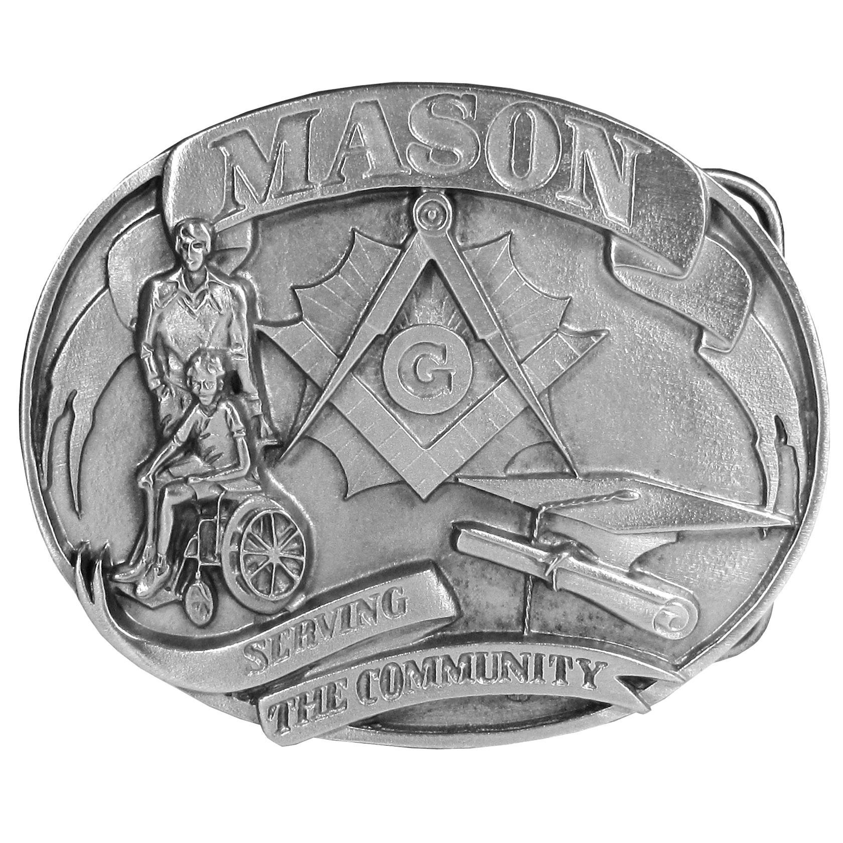 "Mason Antiqued Belt Buckle - ""Mason belt buckle is for the Freemasons who help deserving causes. It has """"Mason"""" in bold at the top, a person in a wheelchair and caregiver, a graduation cap and diploma, the Mason symbol and the words """"serving the community"""". On the back are the words """"Masonry is one of the oldest and largest fraternal organizations. Masons give great financial support for hospitals, home for widows, orphans and the aged; relief for people in distress; and scholarships for students."""" """