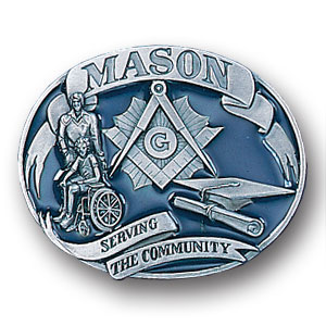 Belt Buckle - Mason 3D - This finely sculpted and hand enameled  Mason belt buckle contains exceptional 3D detailing. Siskiyou's unique buckle designs often become collector's items and are unequaled with the best craftsmanship.